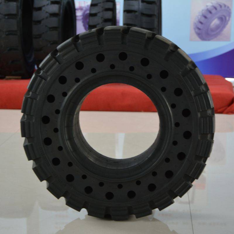 solid resilient forklift tyre with side hole 6.50-10/5.00