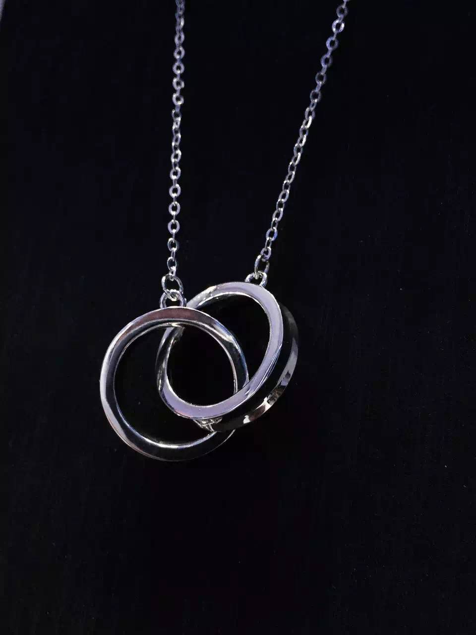 NEFFLY NEW ARRIVAL 925 silver Double loop high-grade PENDANT NECKLACE free shipping
