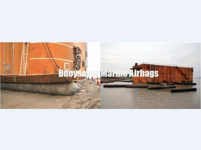 2800 tonnage Giant Steel Cofferdam Launched by Buoysaver Marine Rubber Airbag
