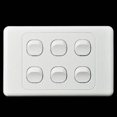 White Color Classic 10A/240V 6 Gang Light Switch for Australia and New Zealand