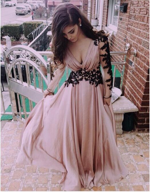 V-Neck Evening Dress,Long Prom Dress, Appliques Satin Prom Dress,Long-Sleeve Prom Dress