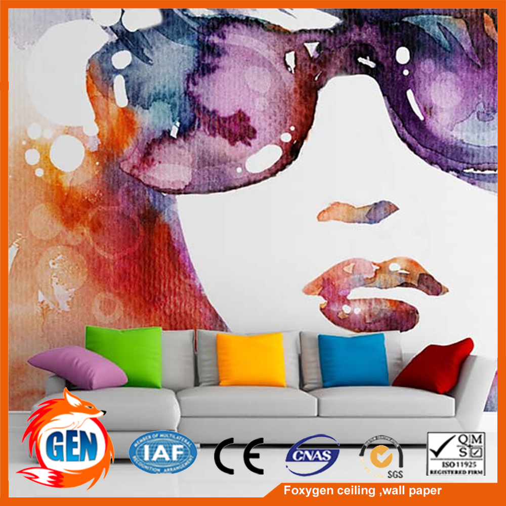 nice quality printed non woven wallpaper sexy girl printed wallpaper