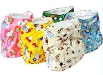 Cartoon Color Print Cloth Diapers