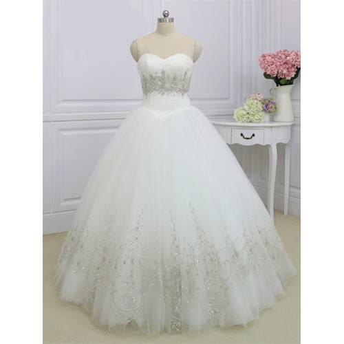 ELEGANT BALL GOWN SATIN&TULLE SWEETHEART FLOOR LENGTH BEADING SEQUINS RHINESTONES WEDDING DRESS BLIN