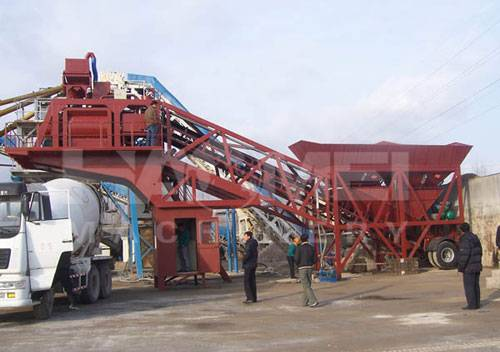 Modern Design Mobile Concrete Mixing Plant YHZS75