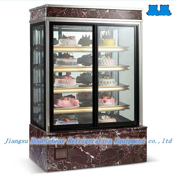 Upright five layers front sliding door cake showcase