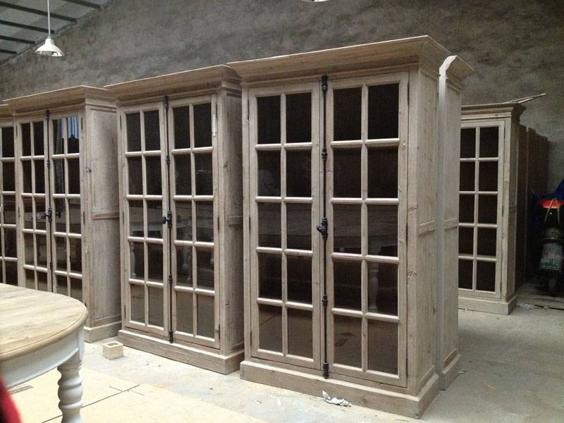 reclaimed  wooden glass display cabinet bookcase shelves
