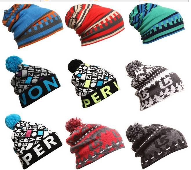 100% acrylic jacquard custom design autumn winter knitted beanie