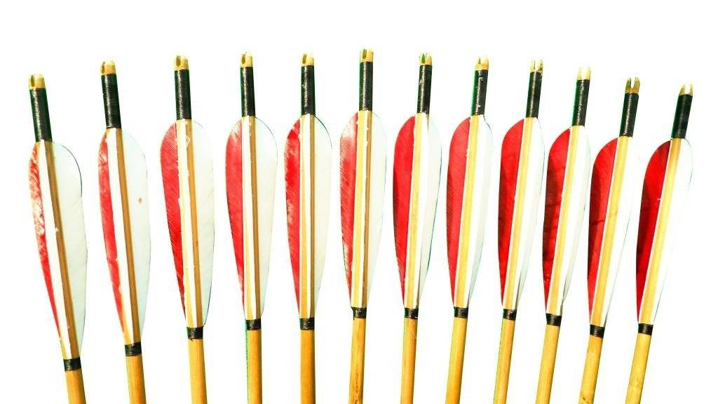 Generic Handmade Bamboo Arrows Streamlined Feathers Color Red and White Pack of 12