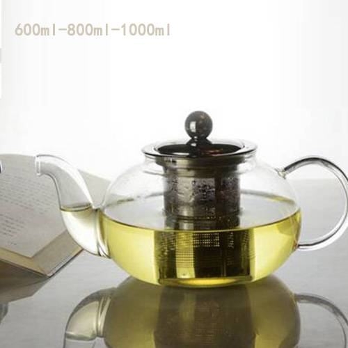 High quality Borosilicate glass Tea pot with Stainless still  Strainer/hand blown heat-resisting gla