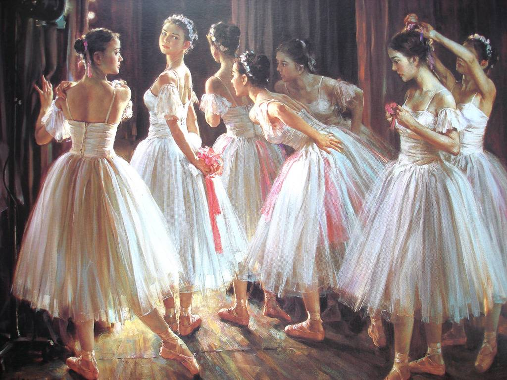 Ballet Realism Oil Painting Framed Gallery Art