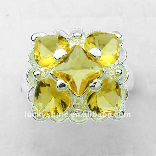 fashion silver jewelry 925 sterling silver plated citrine wedding rings for men