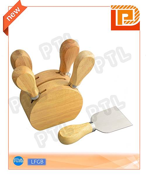 rubber wood cheese set with rounded stand(6 pieces)