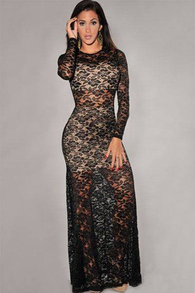 Nude Illusion Sexy Lace Evening Dress 2014 Popula for women