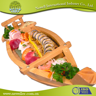 Factory direct sale wholesale bamboo sushi boat With Logo