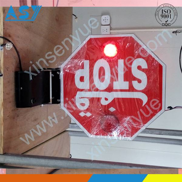 Electronic led stop sign on school bus