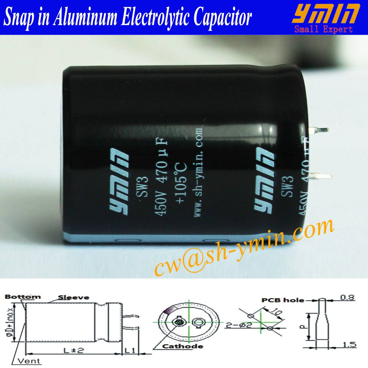 AC Capacitor Snap in Electrolytic Capacitor for EV AC Fast Charging Post and  AC Fast Charging Piles