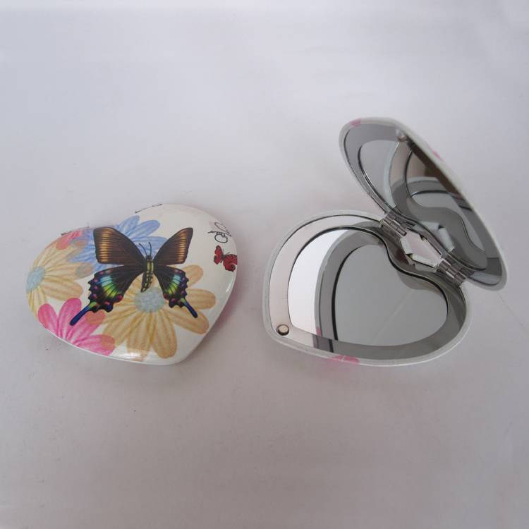 Heart  shape cosmetic makeup mirror with full color logo