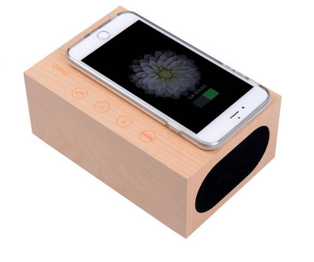 Wireless Mobile Phone Chargers LED Wood Clock Bluetooth Speaker