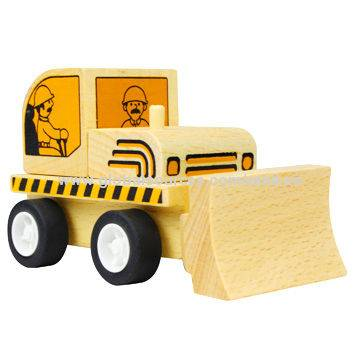 Freewheeling Construction Wooden Toy Car Bulldozer