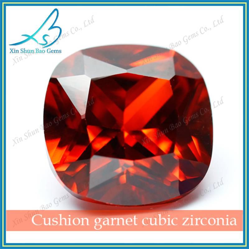 Cushion cut garnet large size synthetic cz diamond