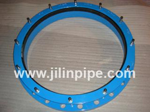 Ductile iron flange adapter and coupling