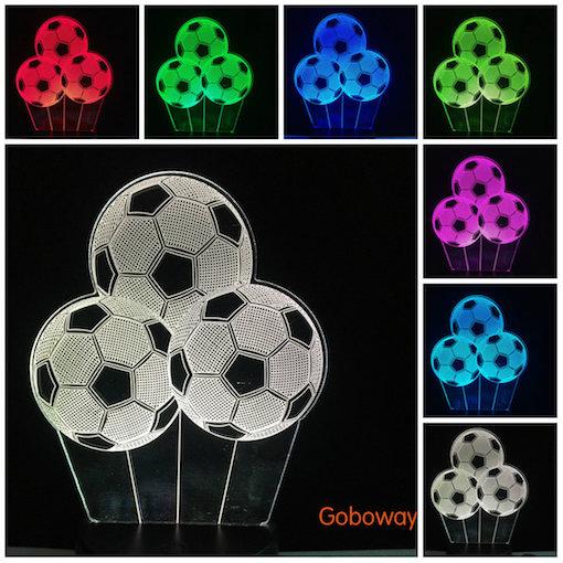 USB 3D Desk Soccer ball Lamp 7 Color Change football LED Table Lamps Bedside Light