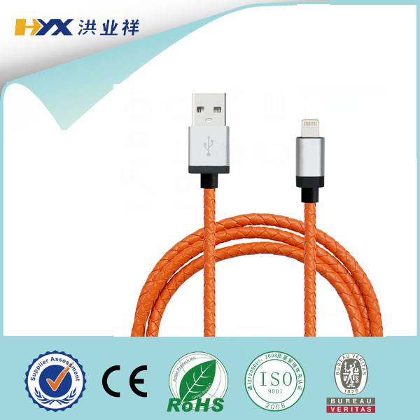 leather braided mfi certified usb cable to 8pin usb data cable for apple iphone usb charging cable