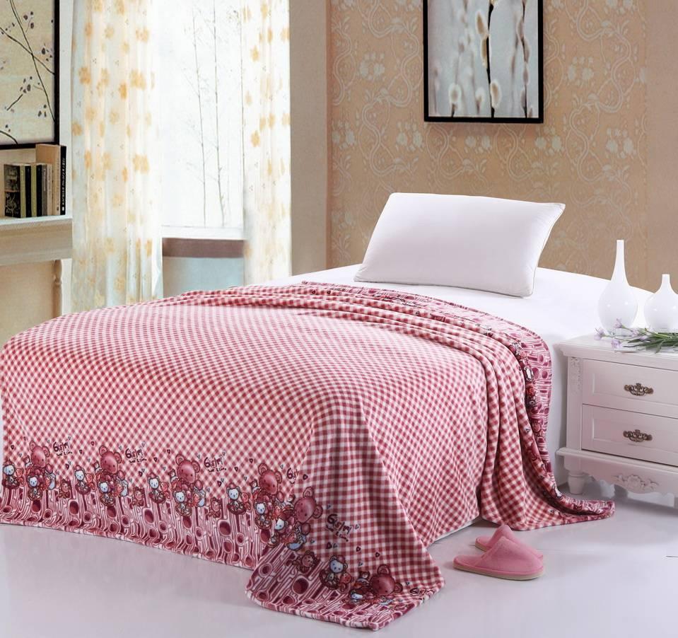 bear printed coral fleece blanket