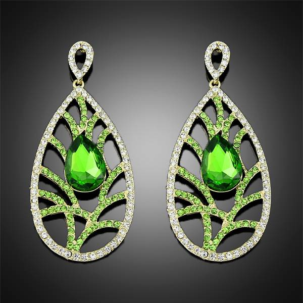 wholesale jewelry 2014 new fashion white green plated crystal rhinestone alloy dangle earrings for w