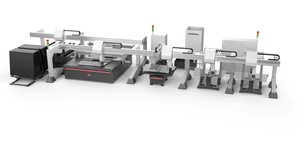 fully automatic shaped glass cutting/grinding line with template