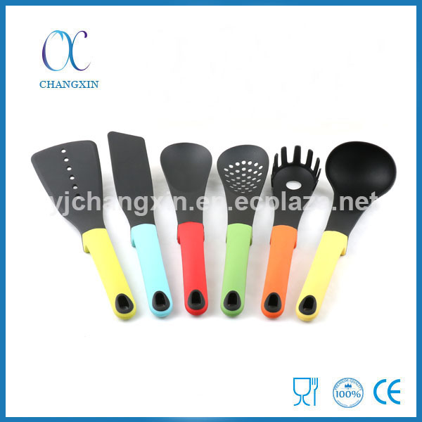 Eco-friendly 6pcs Colorful TPR Stand Handle Nylon Kitchen Utensil Set