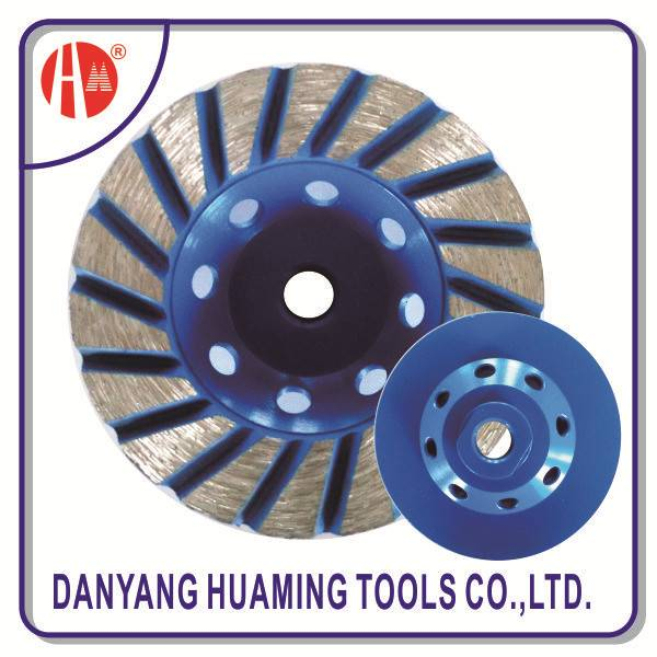 Danyang factory high quality power tool diamond continuous turbo cup grinding wheel for concrete and