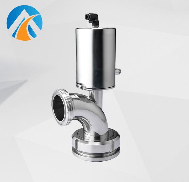Sanitary stainless steel elbow type tank bottom valve