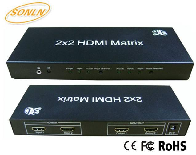2x2 HDMI Matrix 1080P 3D 4Kx2K with IR Remote