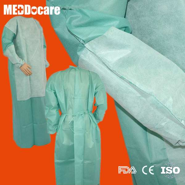 PPE SMS PP Reinforced Waterproof Disposable Hospital Gowns for Hospitals Suppliers