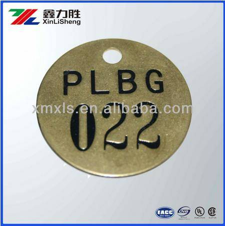 Brass Embossment Number Tags Letter Tags