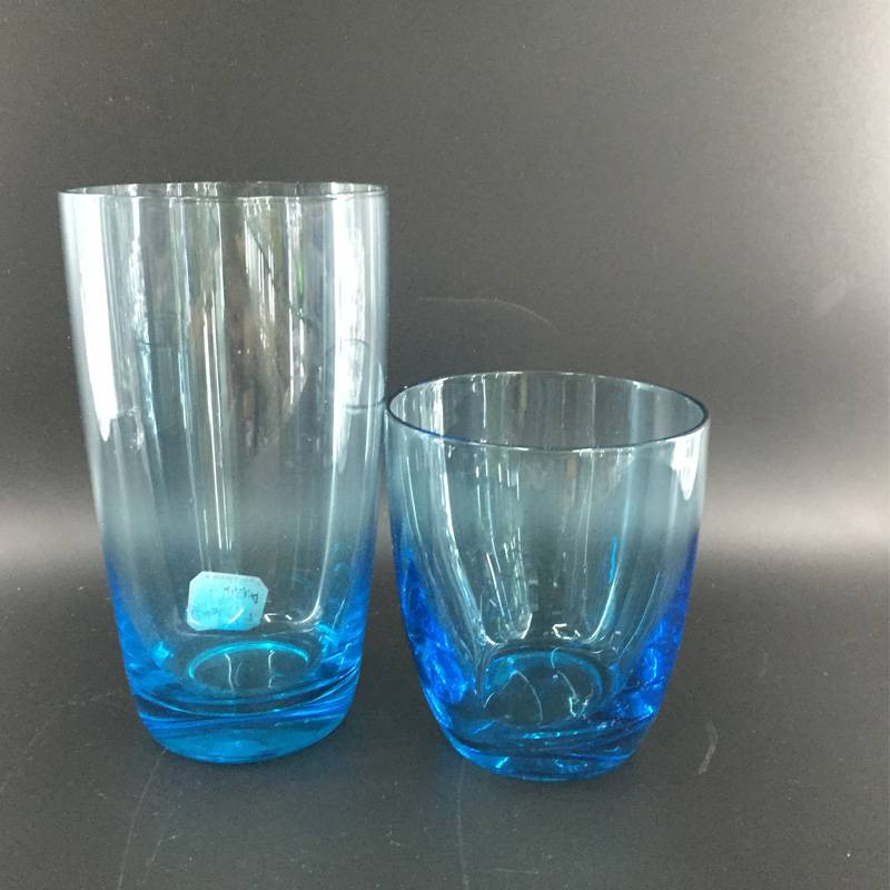High qualtiy glass cup with color glass tumbler colorful glass drinking glass