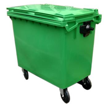 RXL-660L green trash bin with wheels