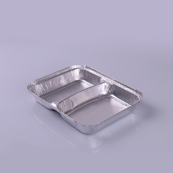 disposable 2 compartment aluminum foil tray foil container with lid