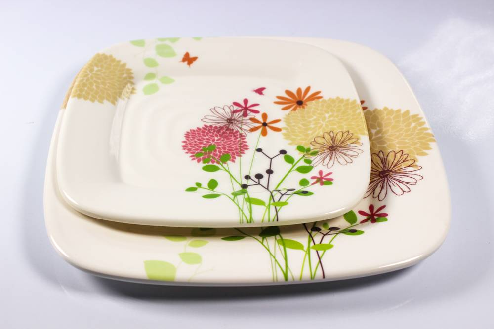 3pcs mixing threaded square melamine plate
