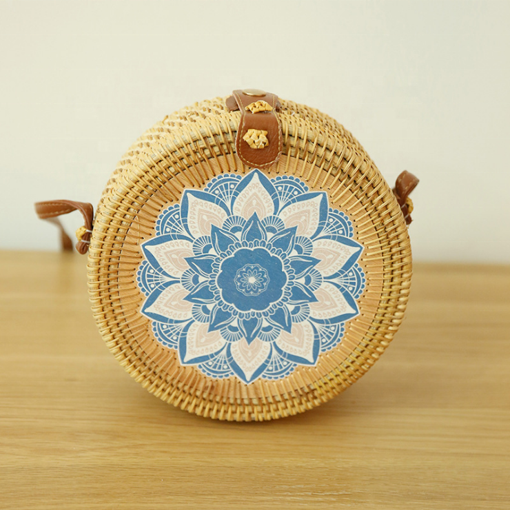 Embroidery Pattern Rattan Bag Round With Pu Leather Strap Straw Beach Bag Rattan Bag Bali