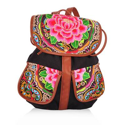 Fashion popular china style travel embroidery backpack