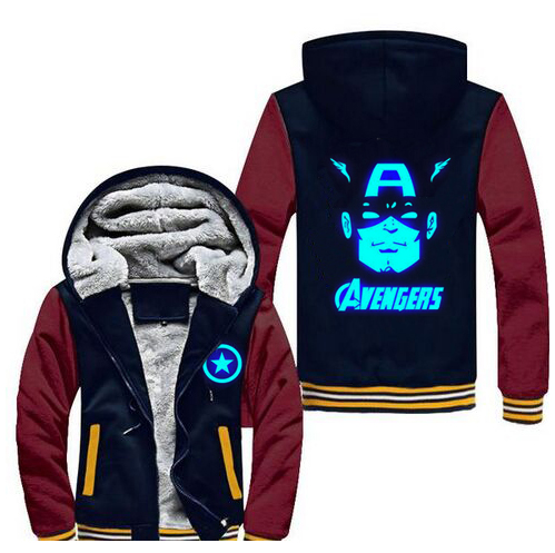New Winter Jackets and Coats Captain America hoodie Luminous Hooded Fashion Thicken Zipper Men cardi