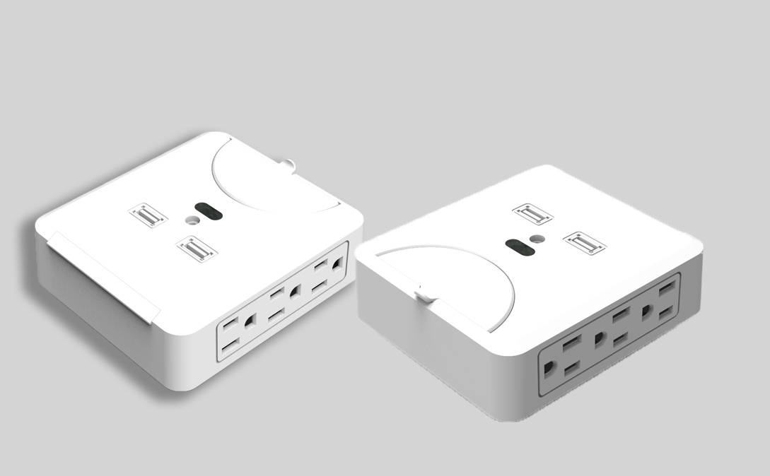 ETL approved 6 outlets wall socket with USB ports for cellphone recharging