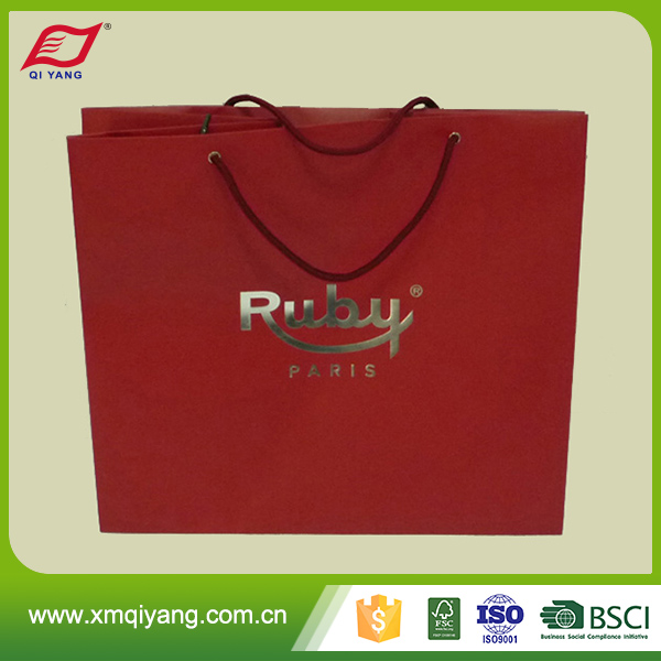 Custom made glossy laminated luxury wedding paper bag for clothes