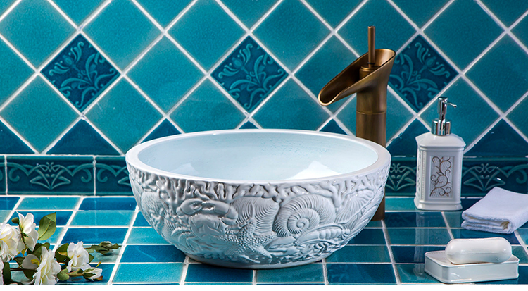 Hand Painting Bathroom Ceramic Wash Basin Sinks Antique Countertop Basin Sinks