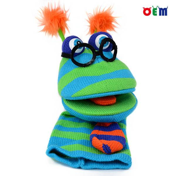 New design Knitted Hand Puppet for kids nice stripy hand puppets for sale