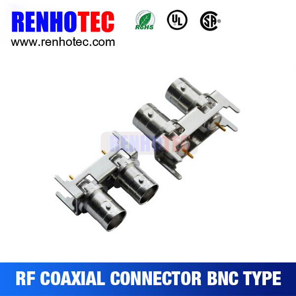straight double BNC jack for PCB mount