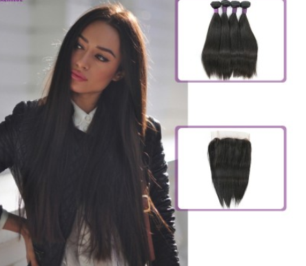 [9A]4 Bundles Peruvian Hair Weave Straight with 360 Lace frontal